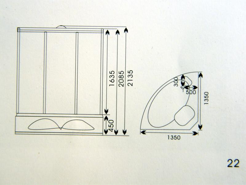 Rysunek techniczny kabiny prysznicowej K006